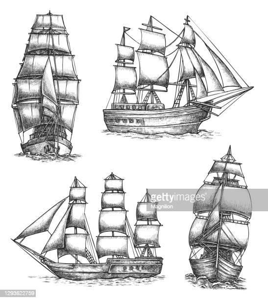 オールドセイルシップズ落書きセット - 大型帆船点のイラスト素材/クリップアート素材/マンガ素材/アイコン素材