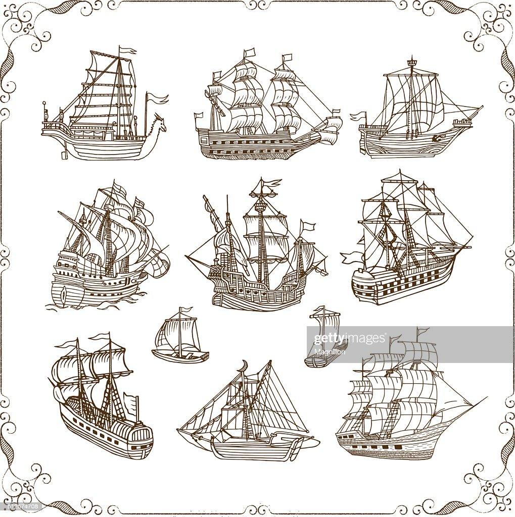 old sailing ships doodles set vector art getty images