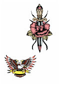 Old school American tattoo illustration, dagger with rose and white-headed eagle