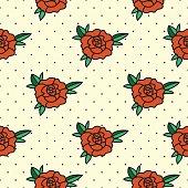 Old School Flower Seamless Pattern