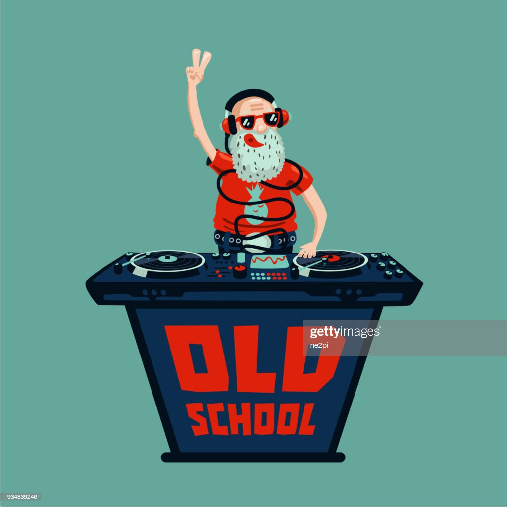 Old school retro party. Senior adult dj with vinyl.