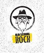 Old School Rock Creative Design Element. Stylish Musician With Beard In Sunglasses Wearing Hat