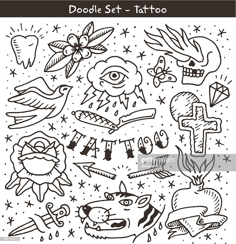 old school tattoo doodle set