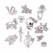 Old School Tattoo Elements.