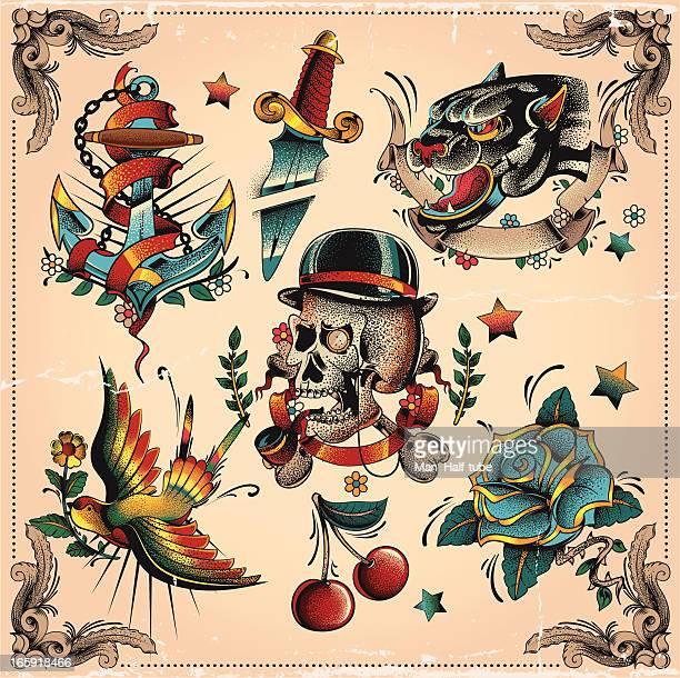 bildbanksillustrationer, clip art samt tecknat material och ikoner med old school tattoo flash - tatuering