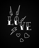 Old school tattoo Love design with hearts and lightnings. Vector line illustration