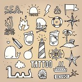 Old school tattoo objects