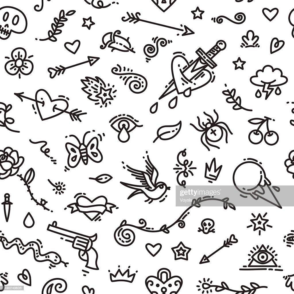 Old School Tattoo Seamless Pattern