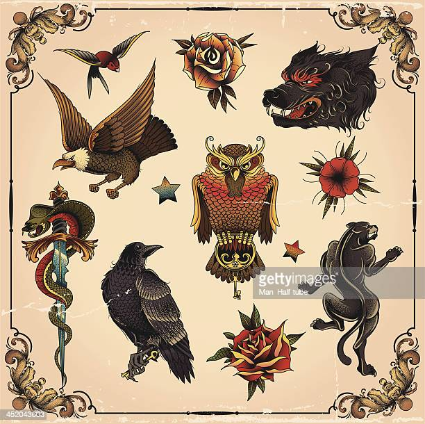 stockillustraties, clipart, cartoons en iconen met old school tattoo set - tattoo