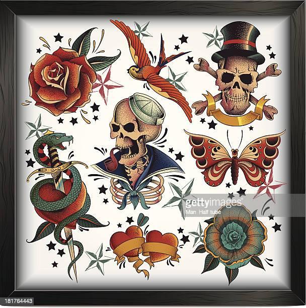 bildbanksillustrationer, clip art samt tecknat material och ikoner med old school tattoos - tatuering