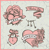 Old school vector graphic set with hearts, roses and  ribbons.