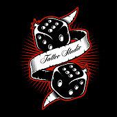 Old schooll dice tattoo design.