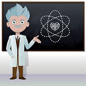 Old scientist showing chalkboard