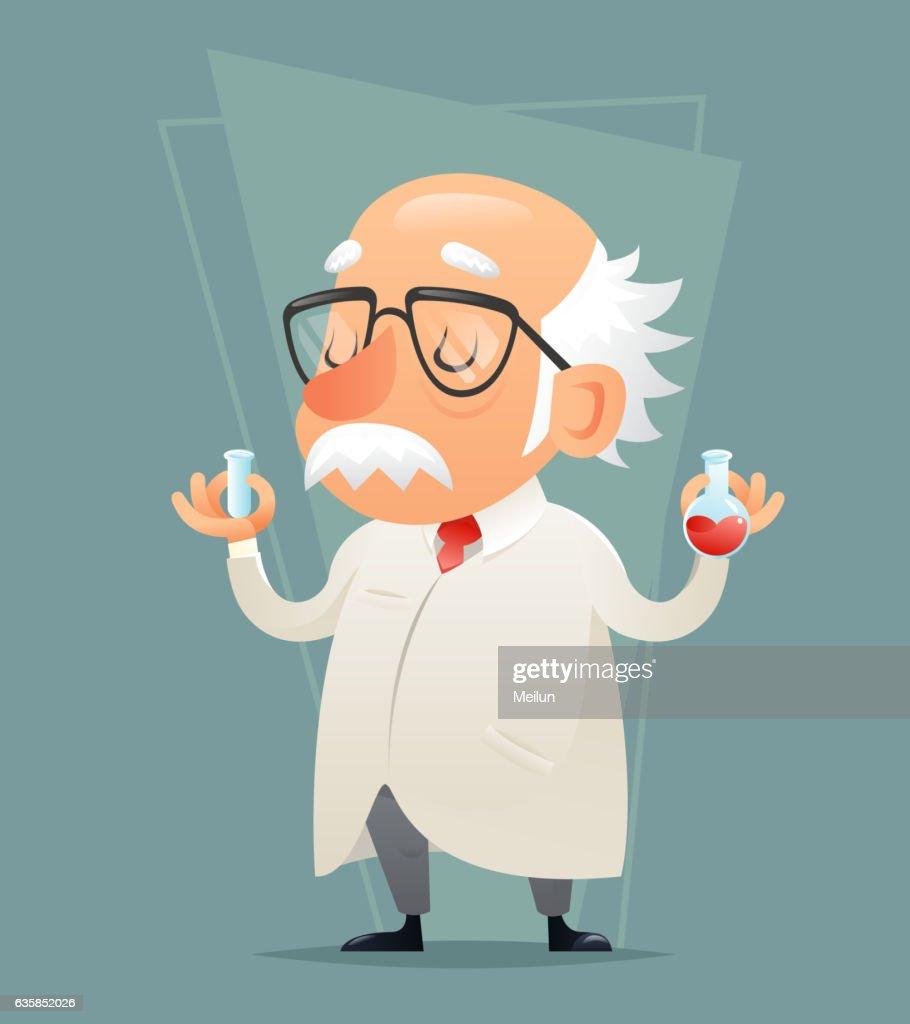 Old Scientist with Test-tube Icon Retro Cartoon Design Mobile