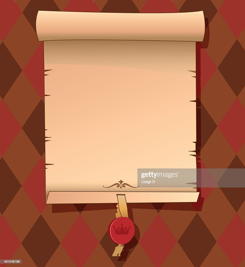 old scroll paper background with signet vector template vector art