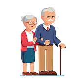 Old senior man and aged woman standing together