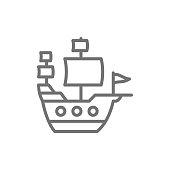 Old ship, sailing vessel, pirates transport line icon.