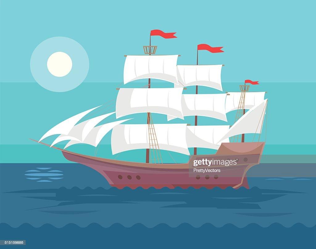 Old ship. Vector flat cartoon illustration