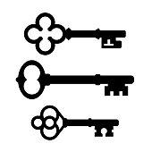 Old skeleton key vector icon