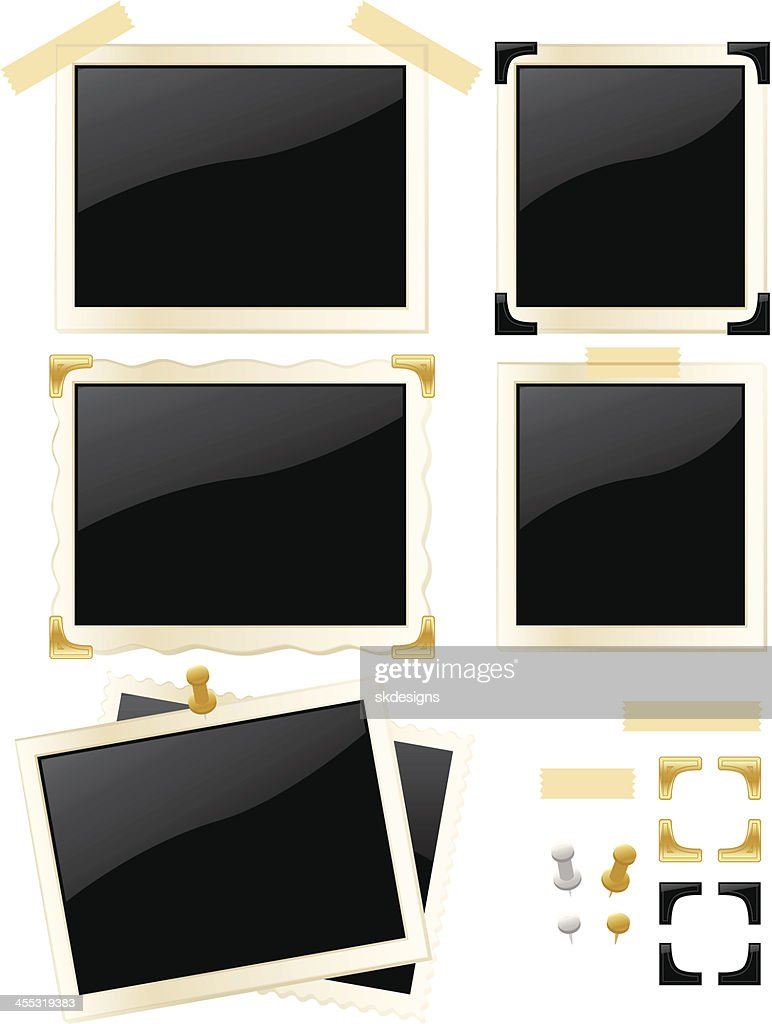 Old Stained 3x5 Or 4x6 Photo Frames Set Vector Art | Getty Images
