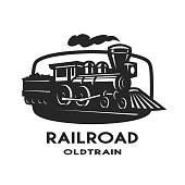 Old steam train emblem