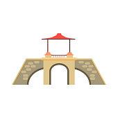 Old stone bridge vector illustration