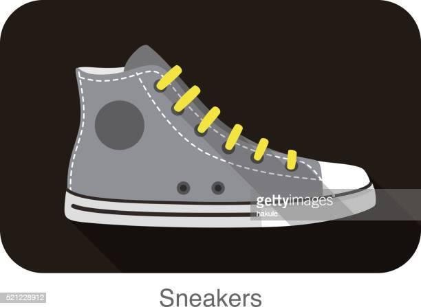 古いスタイルのスポーツスニーカーの靴 - ハイトップス点のイラスト素材/クリップアート素材/マンガ素材/アイコン素材