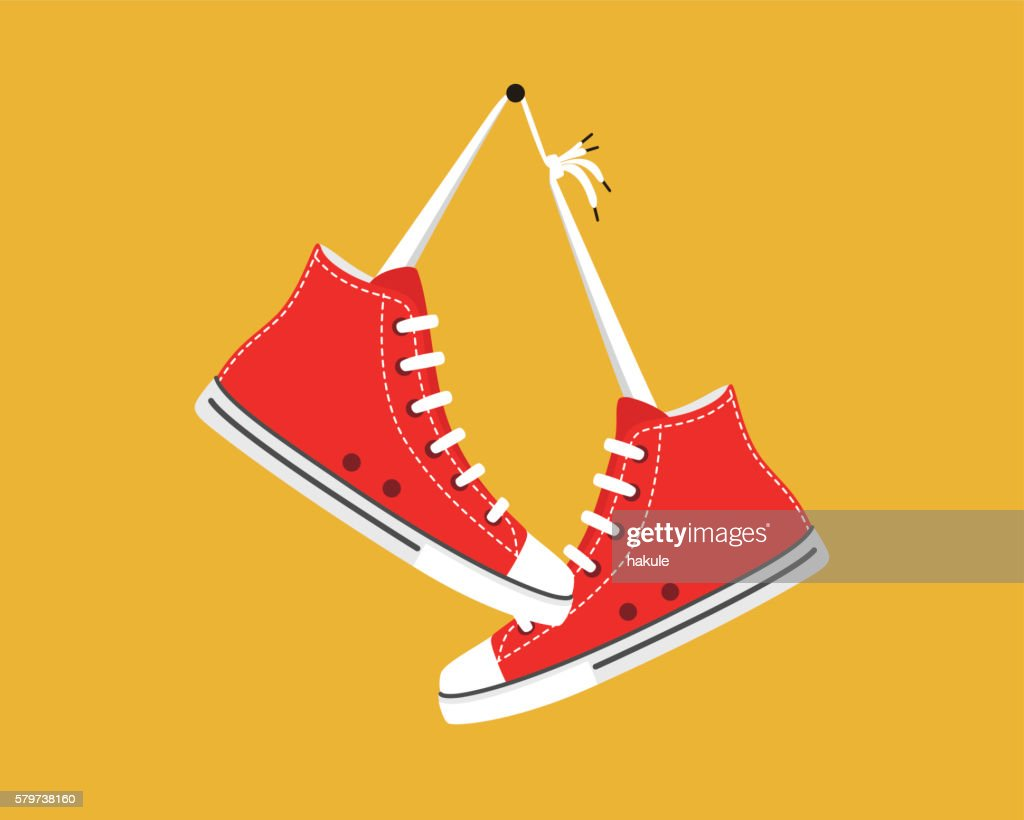 old style sport sneakers shoes hanging : stock illustration