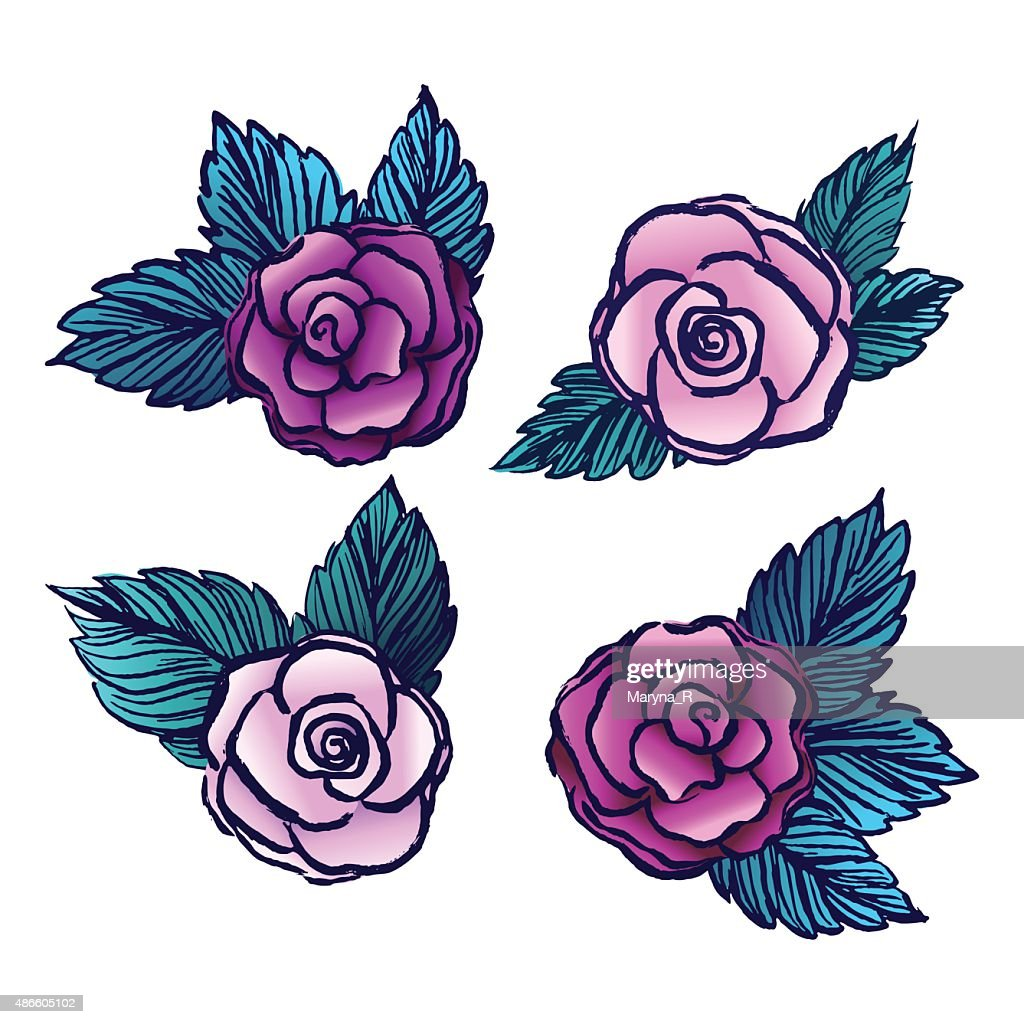 Old style vectored roses on white background