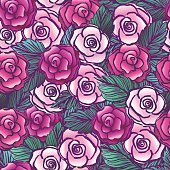 Old style vectored roses seamless pattern/Tattoo design roses or