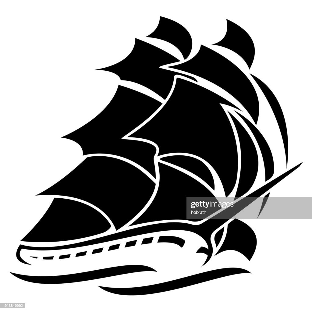 Old Tall Sailing Ship Vector Graphic Illustration