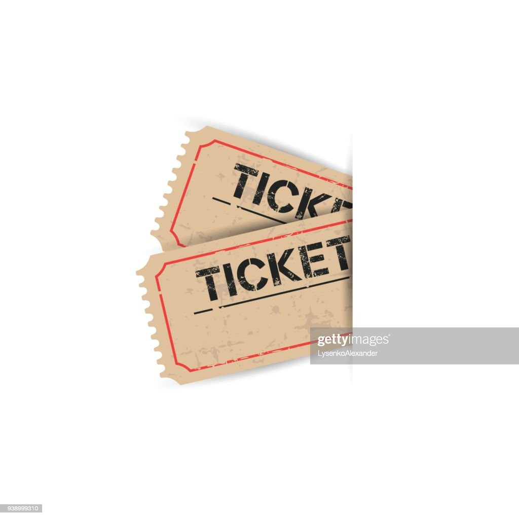 Old ticket with grunge effect. Flat vector illustration on white background.