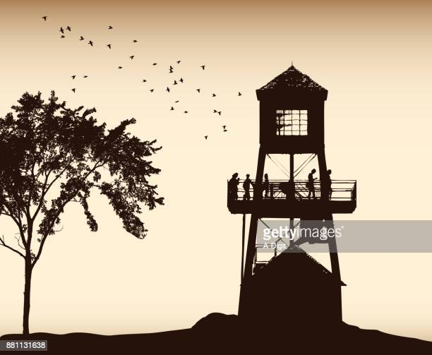 old tower lookout - tower stock illustrations