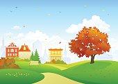 Old town autumn park