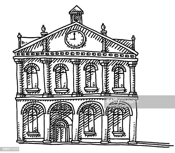 old town hall building clock drawing - town hall stock illustrations