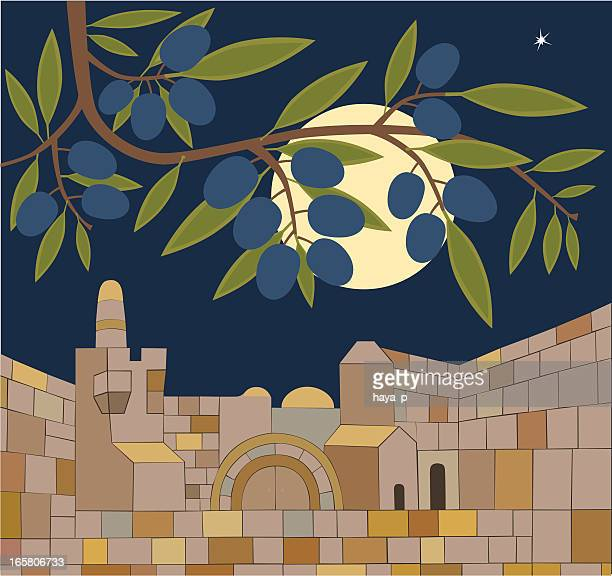 old town of jerusalem at sabbath night - jerusalem stock illustrations, clip art, cartoons, & icons