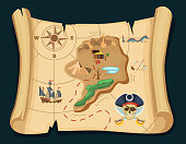 Old treasure map for pirate adventures. Island with old chest. Vector illustration