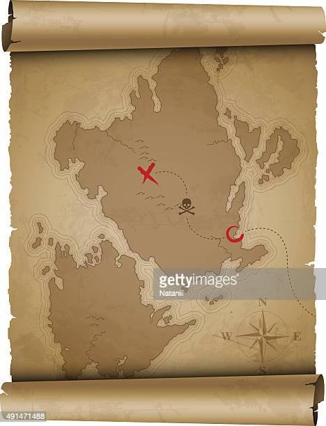 ilustraciones, imágenes clip art, dibujos animados e iconos de stock de antiguo mapa del tesoro - mapa del tesoro