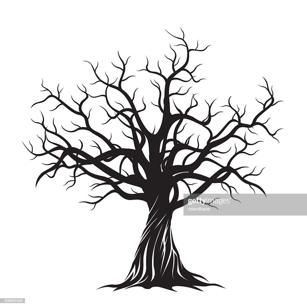 Old Tree. Vector Illustration.