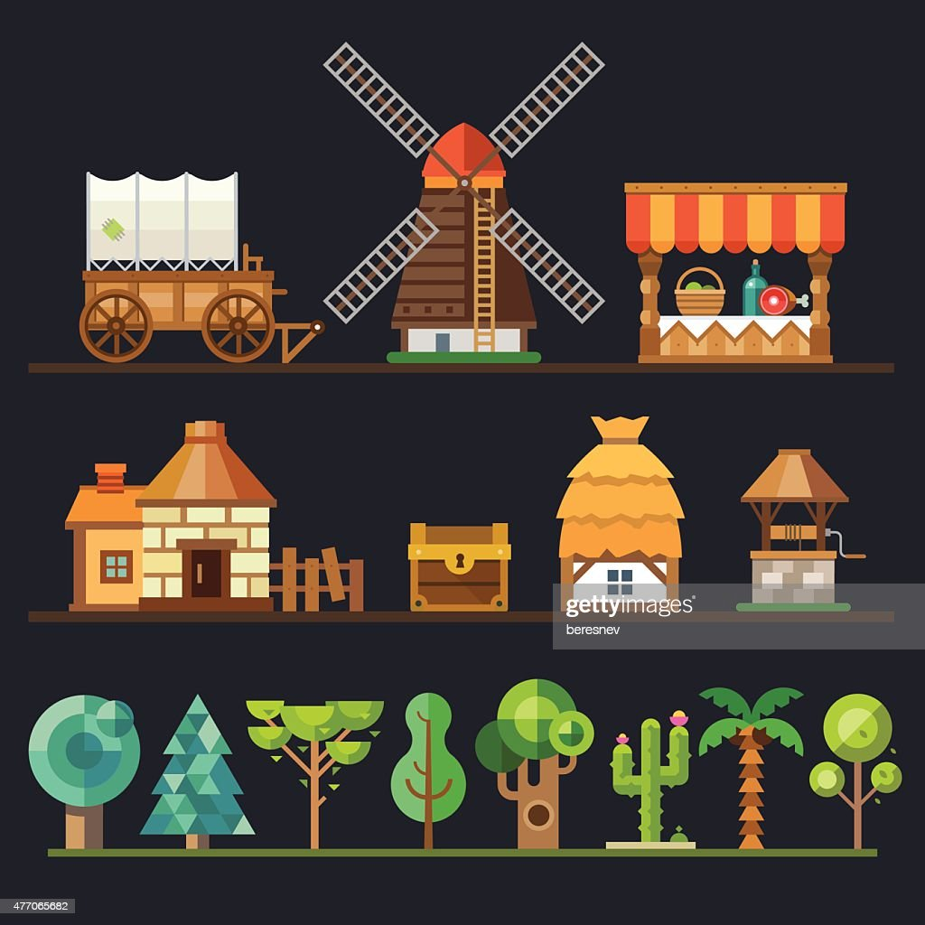 Old village. Different objects, sprites