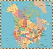 Old vintage color political map of USA and Canada
