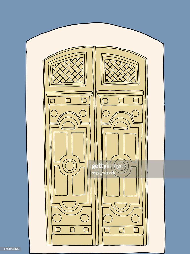 Old vintage door on blue background