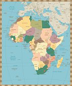 Old vintage map of Africa