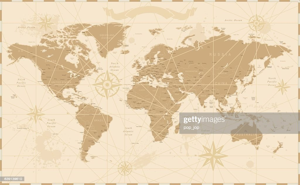Old vintage retro world map vector art getty images old vintage retro world map gumiabroncs Image collections