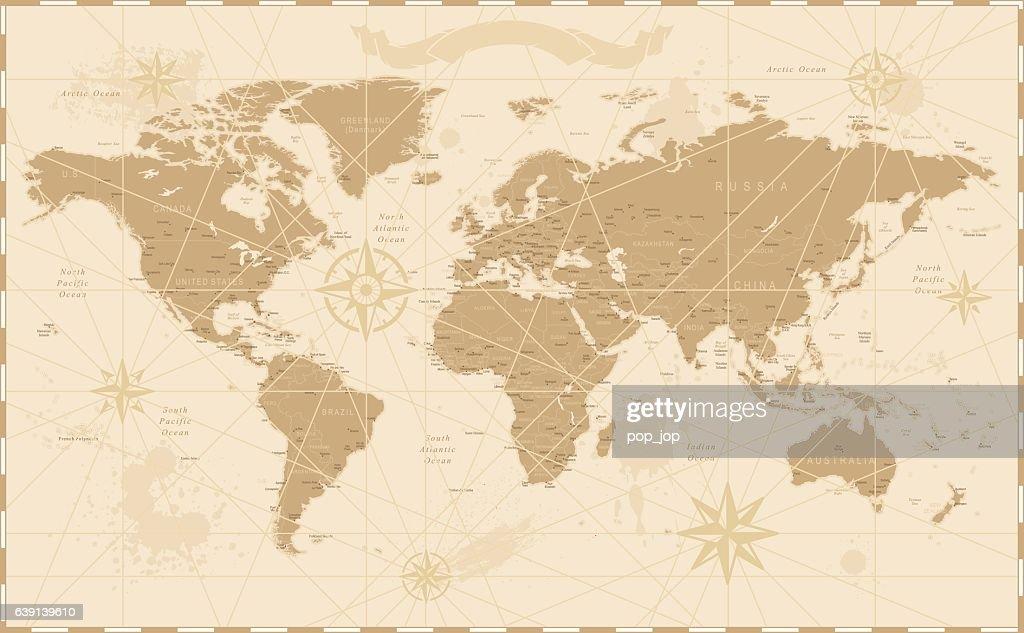 古いビンテージレトロな世界地図 : ストックイラストレーション