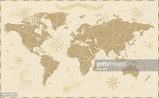 old vintage retro world map - cartography stock illustrations