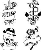 Old vintage tattoo vector illustration