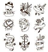 Old vintage tattoo vector set.