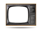 Old vintage TV isolated on white background