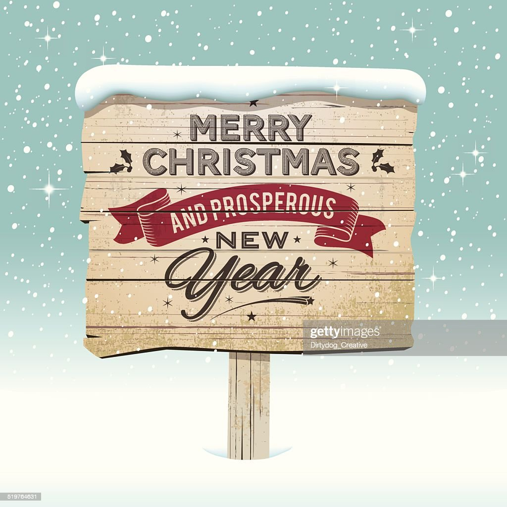 Old vintage wooden Christmas sign in the snow : stock illustration